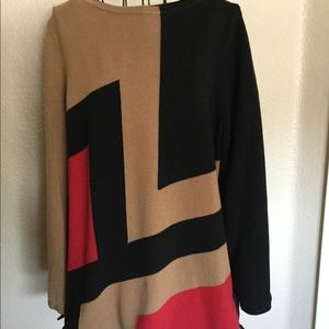 Chico's Long Sleeve Sweater Size: 2 Red Tan Black